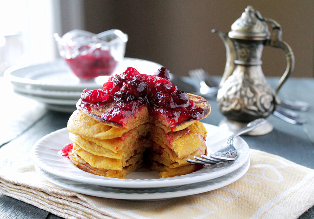 Pumpkin Pancakes with Cranberry Maple Syrup