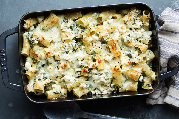 Baked Spanakopita Pasta With Greens and Feta