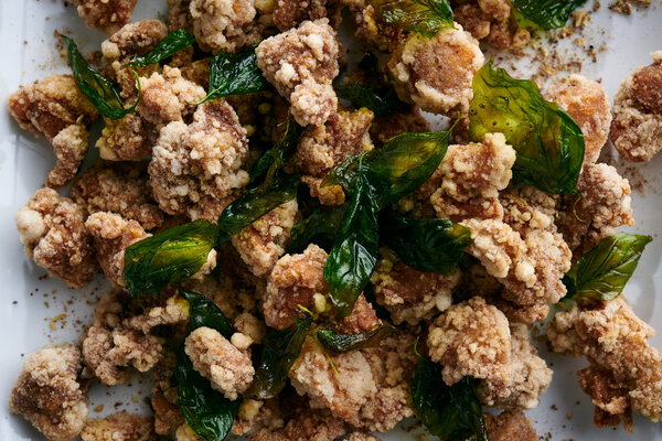 Taiwanese Popcorn Chicken With Fried Basil